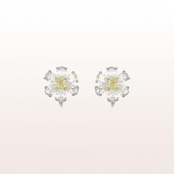 Ohrringe mit gelben und weißen Diamanten 4,49ct in 18kt Weißgold
