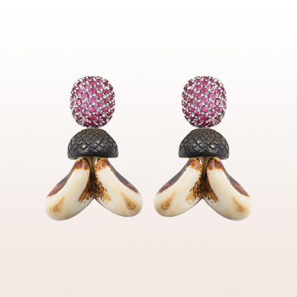 Ohrgehänge mit rosa Saphir 1,40ct Ebenholz und Grandln in 18kt Weißgold