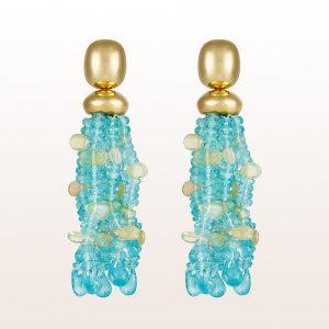 Ohrgehänge mit Apatit und Opal in 18kt Gelbgold