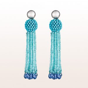 Deco Czech Blue Glass FW Pearls /& Kyanite Gemstones Sterling Silver Earrings