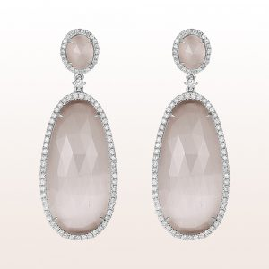 Earrings with grey quartzes and brilliants 1,18ct in 18kt white gold