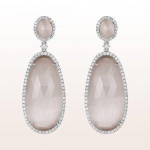 Ohrgehänge mit graue Quarze und Diamanten 1,10ct in 18kt Weißgold