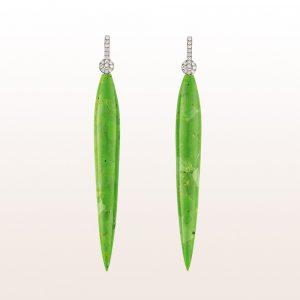 Ohrgehänge mit grünen Türkis Tropfen und Diamanten in 18kt Weißgold