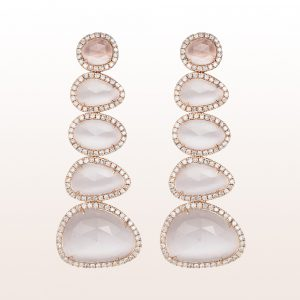 Earrings with grey quartzes and brilliants 2,30ct in 18kt rose gold