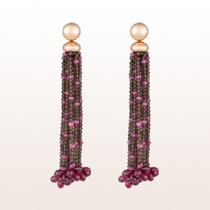 Earrings with smoky quartz and pink sapphire 10,55ct in 18kt rose gold