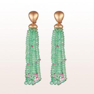Ohrgehänge mit Smaragd und rosa Saphir in 18kt Roségold