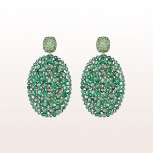 Earrings with tsavorite and emerald slices in 18kt white gold
