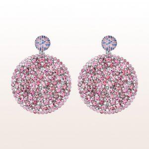 Ohrgehänge mit rosa und blauen Saphiren, Rubellite und Diamanten 18kt Weißgold