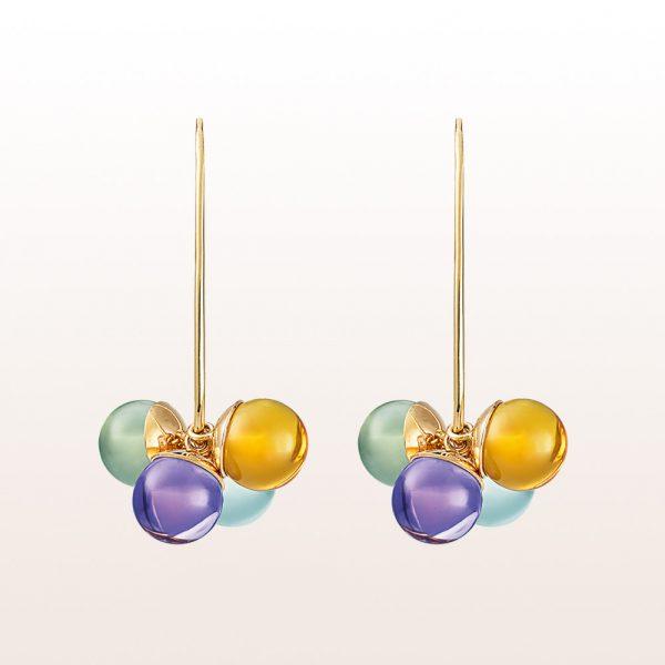 Ohrringe mit Amethyst, Beryll und Quarz in 18kt Gelbgold