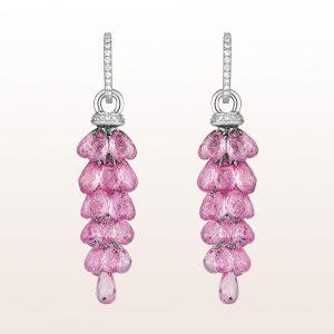 Ohrgehänge mit rosa Saphiren 34,16ct und Brillanten 0,28ct in 18kt Weißgold