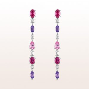 Ohrgehänge mit Rubelliten 1,67ct, rosa Saphiren 1,05ct, Amethysten 0,67ct und Diamanten 0,32ct in 18kt Weißgold