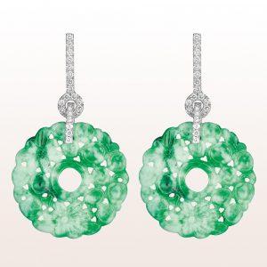 Ohrgehänge mit grüner Jade und Brillanten 0,53ct in 18kt Weißgold
