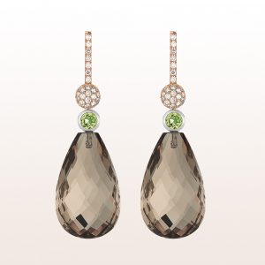Earrings with smoky quartz 42,36ct, peridot 0,54ct and brown brilliants 0,50ct in 18kt rose gold