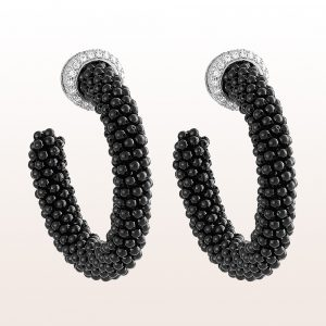 Earrings with black spinel and brilliants 1,28ct in 18kt white gold