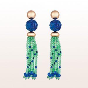 Ohrgehänge mit Lapis Lazuli und Chrysopras in 18kt Roségold