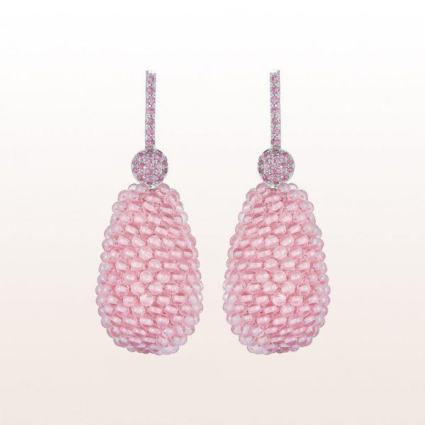 Ohrgehänge mit rosa Saphiren 0,59ct und Rosenquarz in 18kt Weißgold