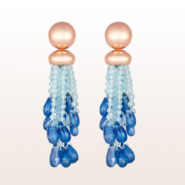 Earrings with aquamarine and kyanite in 18kt rose gold