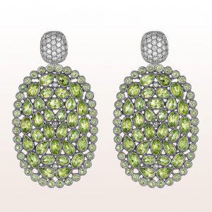 Ohrringe mit Peridotscheiben und Brillanten 1,19ct in 18kt Weißgold