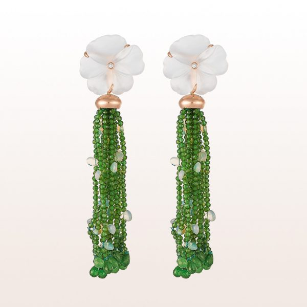 Earrings with rock crystal blossoms, diopside, tsavorite, opal and brilliants 0,05ct in 18kt rose gold