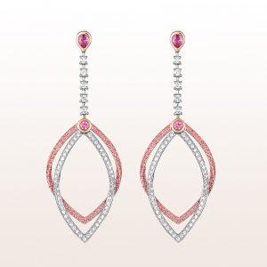 Ohrgehänge mit rosa Saphir 0,91ct und Brillanten 0,58ct in 18kt Weißgold