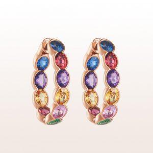 Hoop earrings sapphire 1,62ct, rubellite 1,50ct, amethyst 1,02ct, yellow sapphire 1,56ct, pink sapphire 0,83ct and tsavorite 0,62ct in 18kt rose gold