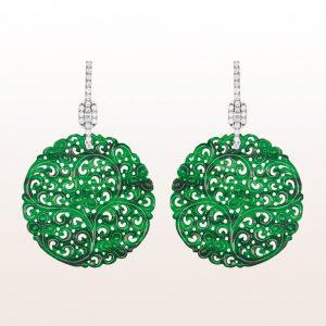 Ohrgehänge mit grüner Jade und Brillanten 0,73ct in 18kt Weißgold
