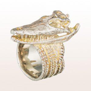 """Ring """"Crocodilo"""" in 18kt Weißgold von Künstler Hubert Scheibl"""