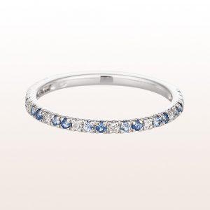 Ring mit Saphiren und Diamanten in 18kt Weißgold