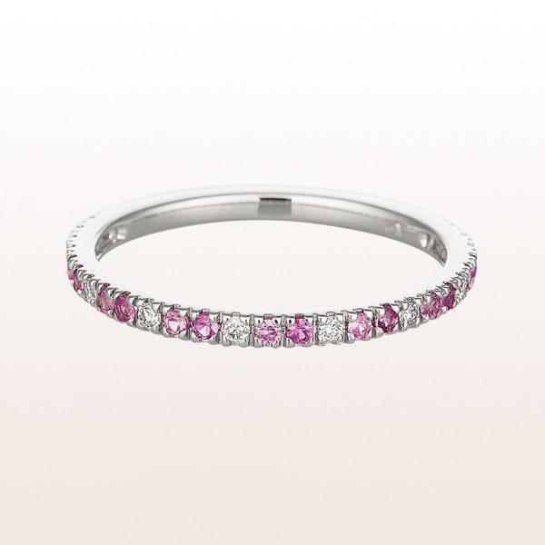 Ring mit rosa Saphiren und Diamanten in 18kt Weißgold