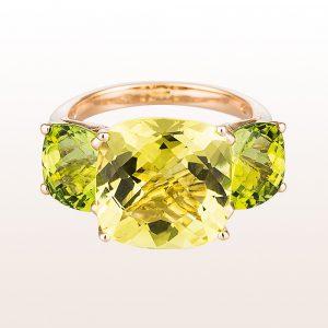 Ring mit Lemonquarz und Peridots in 18kt Roségold