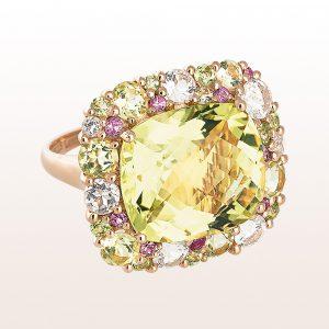 Ring mit Lemonquarz, Quartz, Peridot, rosa Saphiren in 18kt Roségold