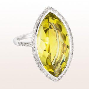 Ring mit Lemonquarz und Diamanten in 18kt Weißgold