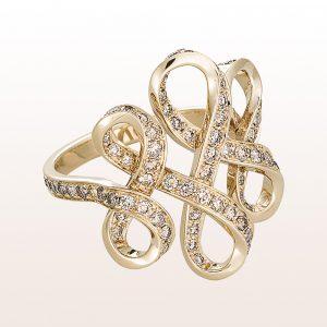 Ring mit braunen Diamanten 1,34ct in 18kt Weißgold