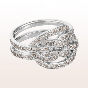 """Ring mit """"Echter Liebhaberknoten"""" Diamanten 1,24ct in 18kt Weißgold"""