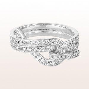 """Ring mit """"Notstek"""" Diamanten 0,88ct in 18kt Weißgold"""