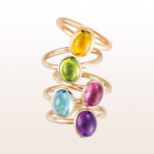 Collection rings with citrine, peridot, rubellite, topaz and amethyst cabochons in 18kt white and rose gold