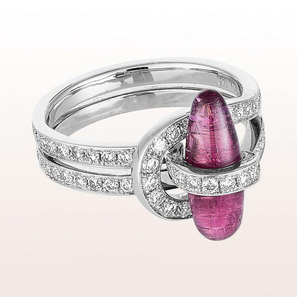 Ring mit Rubellit 2,96ct und Diamanten 0,55ct in 18kt Weißgold
