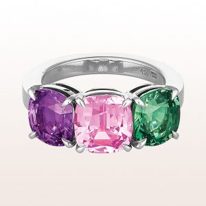 Ring mit violettem, rosa und grünem Saphir in 18kt Weißgold