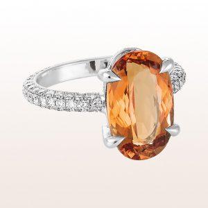 Ring mit orangem Topas 6,95ct und Diamanten 1,72ct in 18kt Weißgold