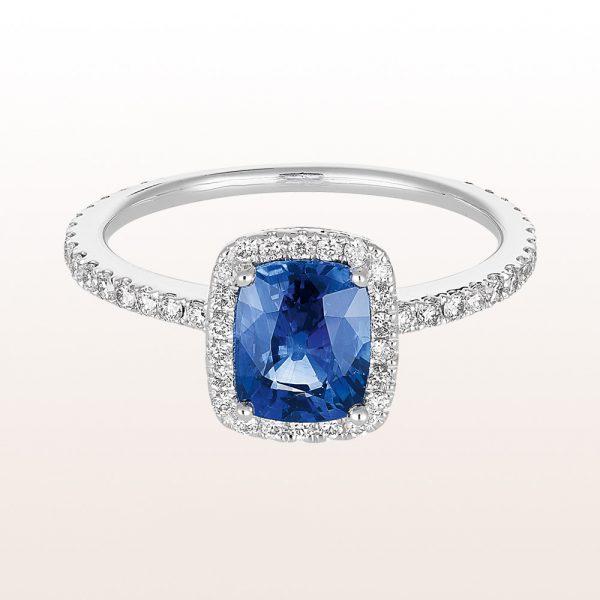 Ring mit Saphir 1,57ct und Diamanten 0,48ct in 18kt Weißgold
