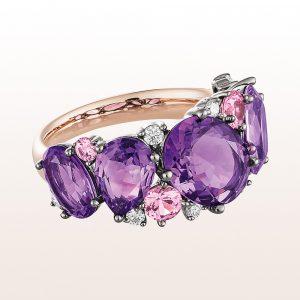 Ring mit Amethyste 4,68ct, rosa Saphire 0,58ct und Diamanten 0,17ct in 18kt Roségold
