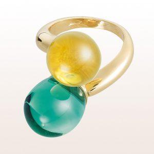 Ring mit Prasiolith und Citrin in 18kt Gelbgold