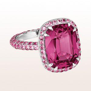 Ring mit Rhodolith 8,15ct und rosa Saphiren 2,02ct in 18kt Weißgold