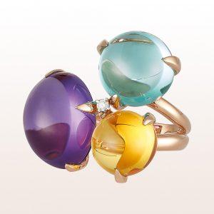 Ring mit Amethyst, Citrin, Prasiolith und Diamant 0,05ct in 18kt Roségold