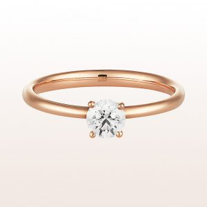 Ring with brilliant cut diamonds 0,41ct in 18kt rose gold