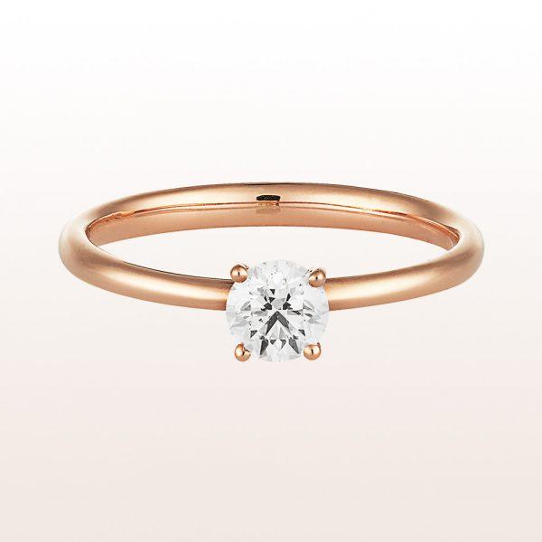 Ring mit Brillant 0,41ct in 18kt Roségold