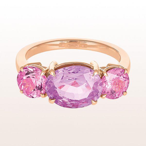 Ring mit violettem Saphir 3,70ct und rosa Turmaline 1,59ct in 18kt Roségold