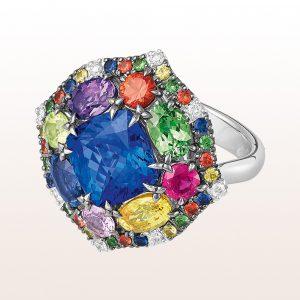 Ring mit Tansanit 3,90ct, Amethyst 0,38ct, Peridot 033ct und Brillanten 0,11ct in 18kt Weißgold