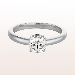 Ring with brilliant cut diamonds 1,00ct in 18kt white gold