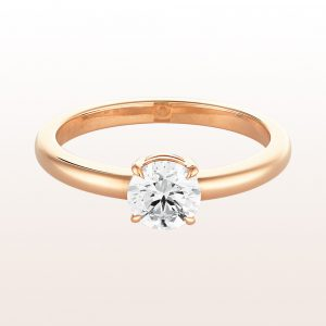 Ring mit Brillant 0,74ct in 18kt Roségold